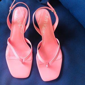 Fun bubblegum pink CalvinKlein 1.5 inch heel.